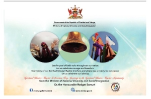 Ministry of National Diversity and Social Integration Spiritual Shouter Baptist Liberation Day Ad