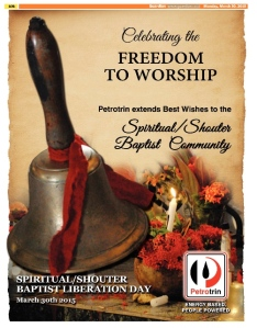 Petrotrin Spiritual Shouter Baptist Liberation Day Ad