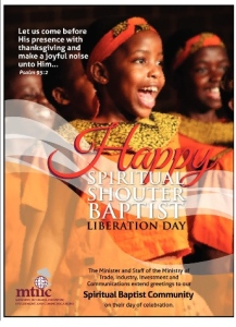 Ministry of Trade, Industry, Investment and Communication Spiritual Shouter Baptist Liberation Day Ad
