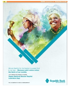 Republic Bank Spiritual Shouter Baptist Liberation Day Ad